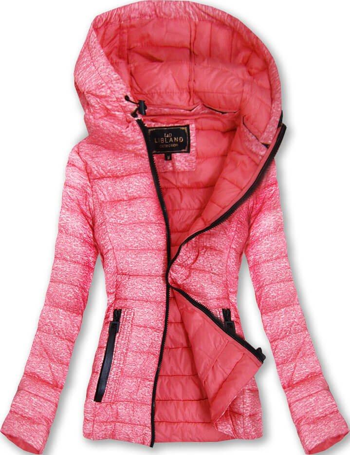 Ružová dámska bunda s kapucňou (7211) różowy L (40)