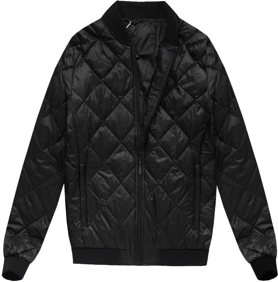 Černá pánská bunda s přírodní vycpávkou (5022) Barva: černá, Velikost: M