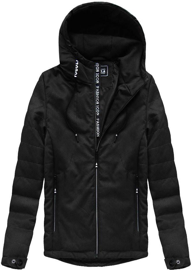 Černá pánská bunda s kapucí (M722) Barva: černá, Velikost: XL