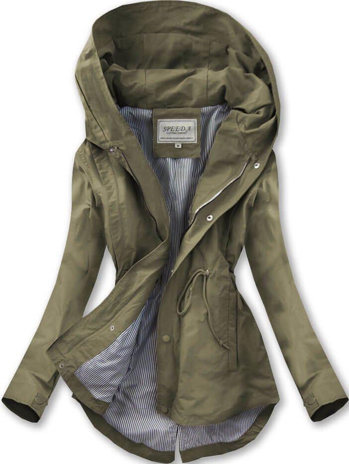 Bunda parka v khaki barvě s kapucí (W726) khaki XL (42)