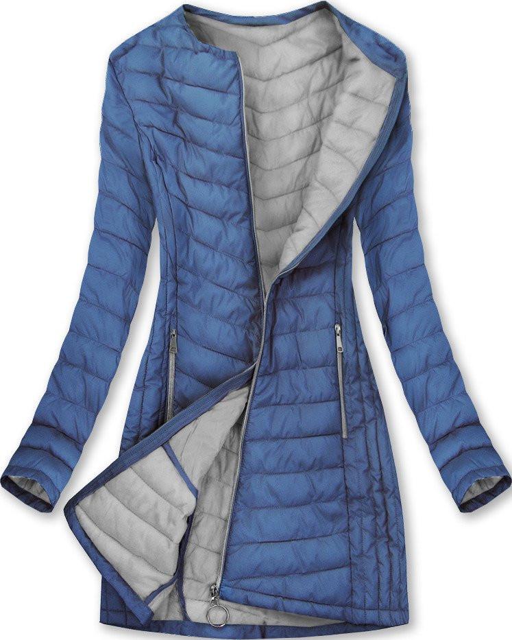Dlhá modrá dámska bunda (21809) modrý XL (42)