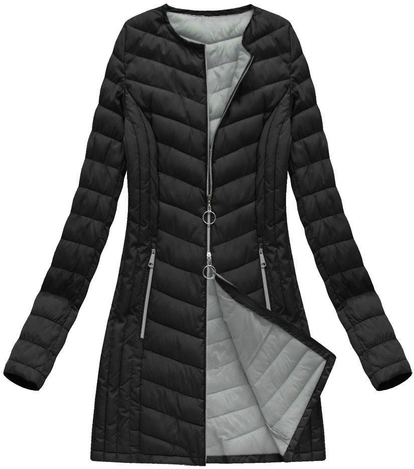 Černá dlouhá prošívaná bunda (21814) černá 46