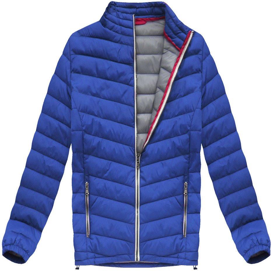Prošívaná bunda v chrpové barvě (21872) Barva: modrá, Velikost: M