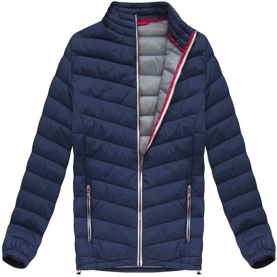 Tmavě modrá prošívaná bunda (21872) Barva: tmavěmodrá, Velikost: M