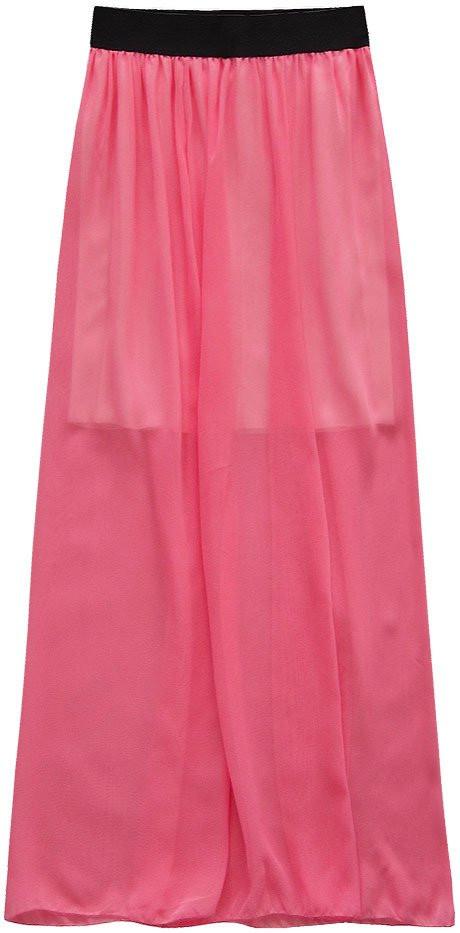 Prodyšná maxi sukně v korálové barvě (95ART) červená ONE SIZE