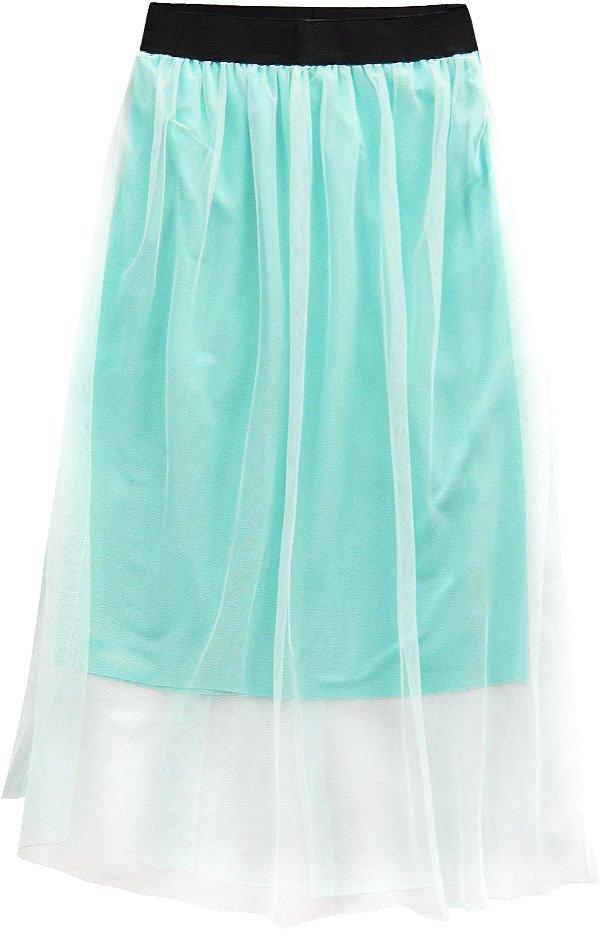 Prodyšná sukně v mátové barvě s délkou midi (96ART) zelená ONE SIZE