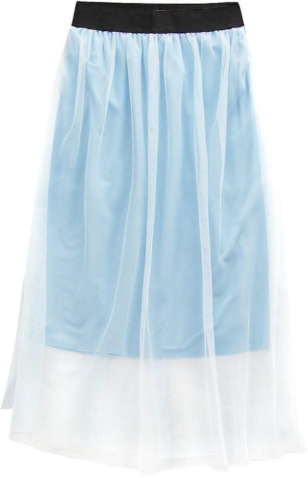 Světle modrá prodyšná sukně s délkou midi (96ART) modrá ONE SIZE