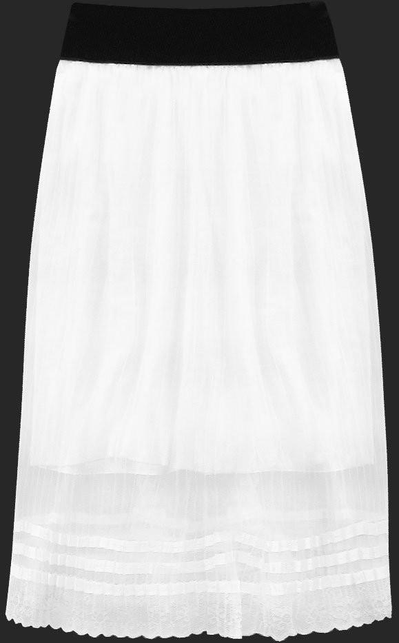 Prodyšná bílá plisovaná sukně (97ART) bílá ONE SIZE