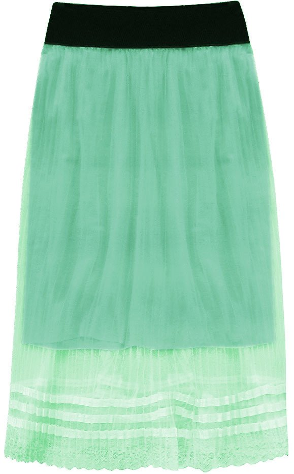 Prodyšná plisovaná sukně v mátové barvě (97ART) zelená ONE SIZE