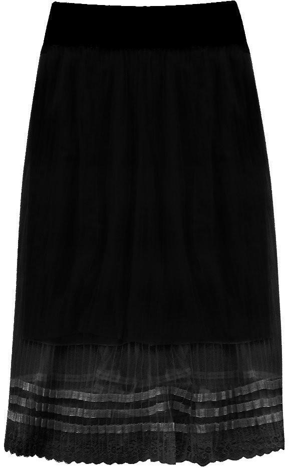 Prodyšná černá plisovaná sukně (97ART) černá ONE SIZE