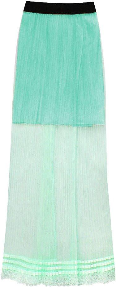 Prodyšná plisovaná sukně v mátové barvě (98ART) zelená ONE SIZE