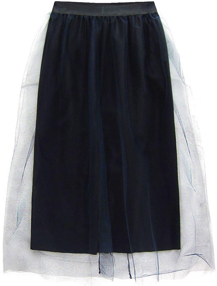 Tmavě modrá tylová sukně s délkou midi (104ART) tmavěmodrá ONE SIZE