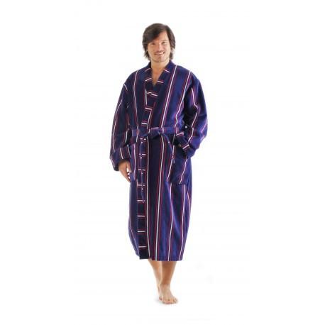 OXFORD prúžok - pánske bavlnené kimono - Vestis XXL dlhý župan kimono modrý prúžok 5003