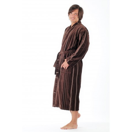 TERAMO pánske balněné kimono XXL dlhý župan kimono hnedá 8859