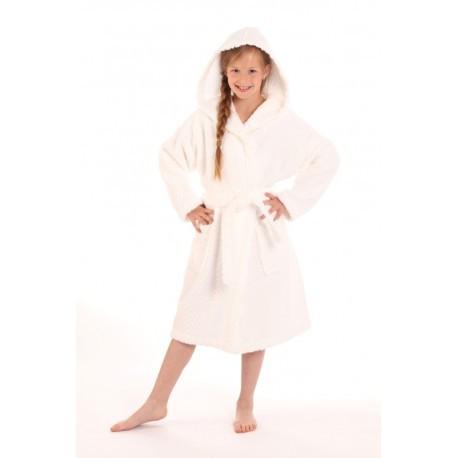 dětský župan Athena bílý s kapucí dětské č.128 dětský župan s kapucí bílá 0100