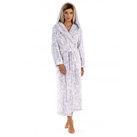 FLORA dove grey, župan s kapucňou L dlhý župan s kapucňou 9103 dove grey flannel fleece - polyester