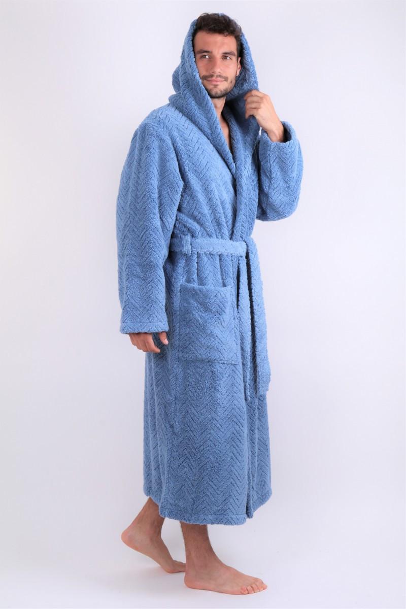 župan Athena s kapucňou denim XXL dlhý župan s kapucňou džíny 5456 100% mikrobavlna - bavlna