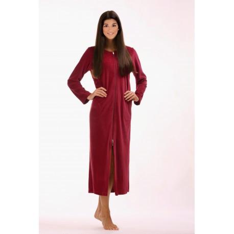 RIO dámské dlouhé šaty se zipem S dlouhý župan se zipem vínová 3651