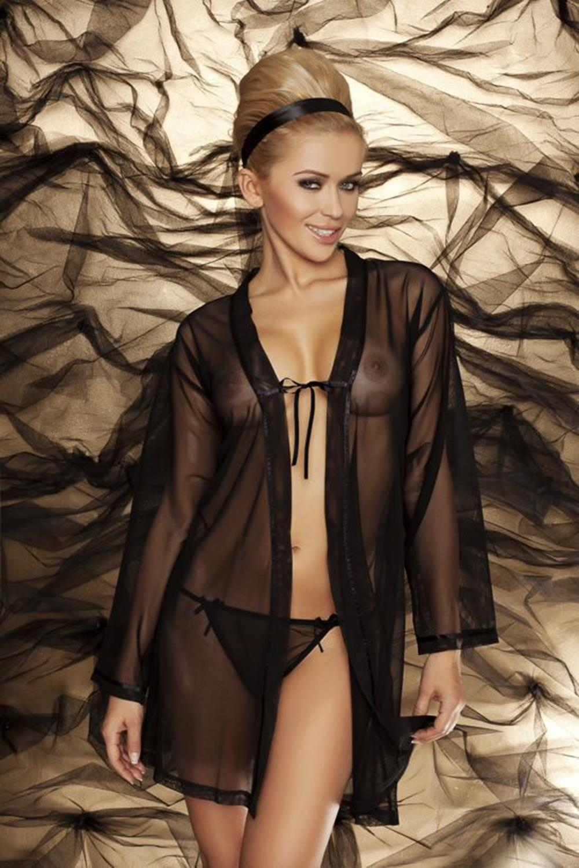 Erotický župan Amanda black - DKAREN čierna XS