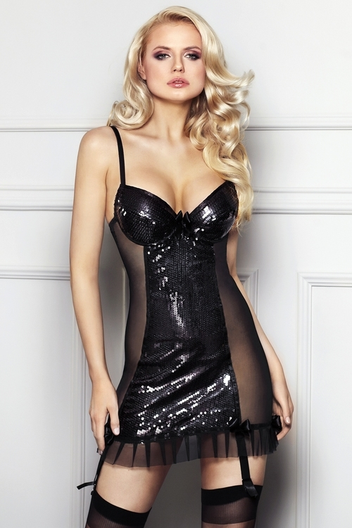 Erotická košilka Florencia černá XL