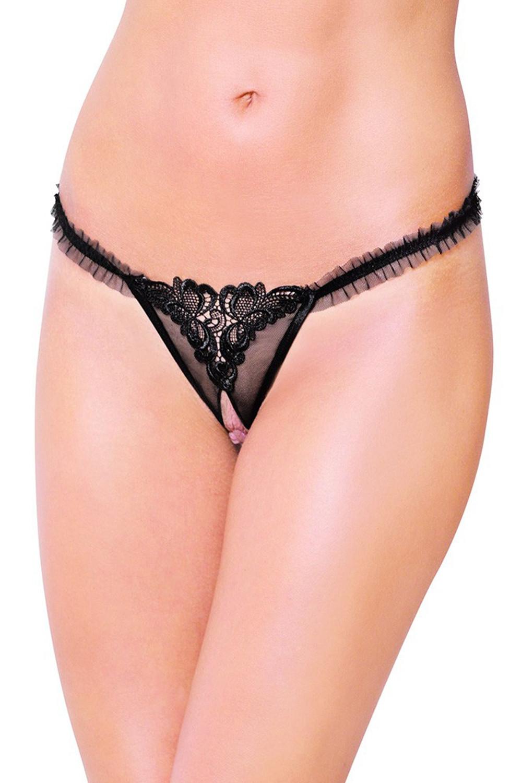 Erotická tanga 2452 black černá S/M