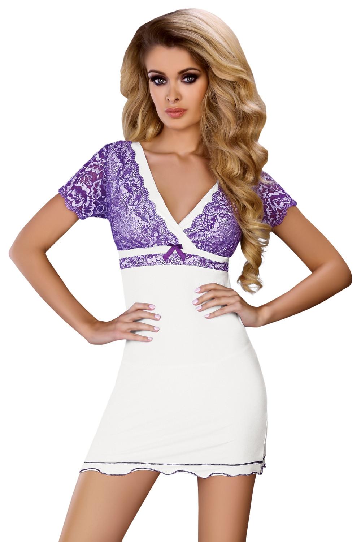 Dámská košilka Trudy bílá-fialová L/XL