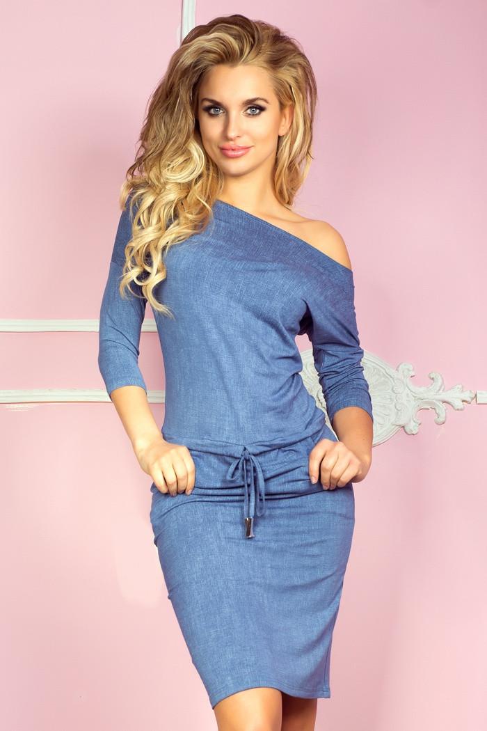 Dámske šaty 13-20 - NUMOCO svetlo modrá džínsovina XL