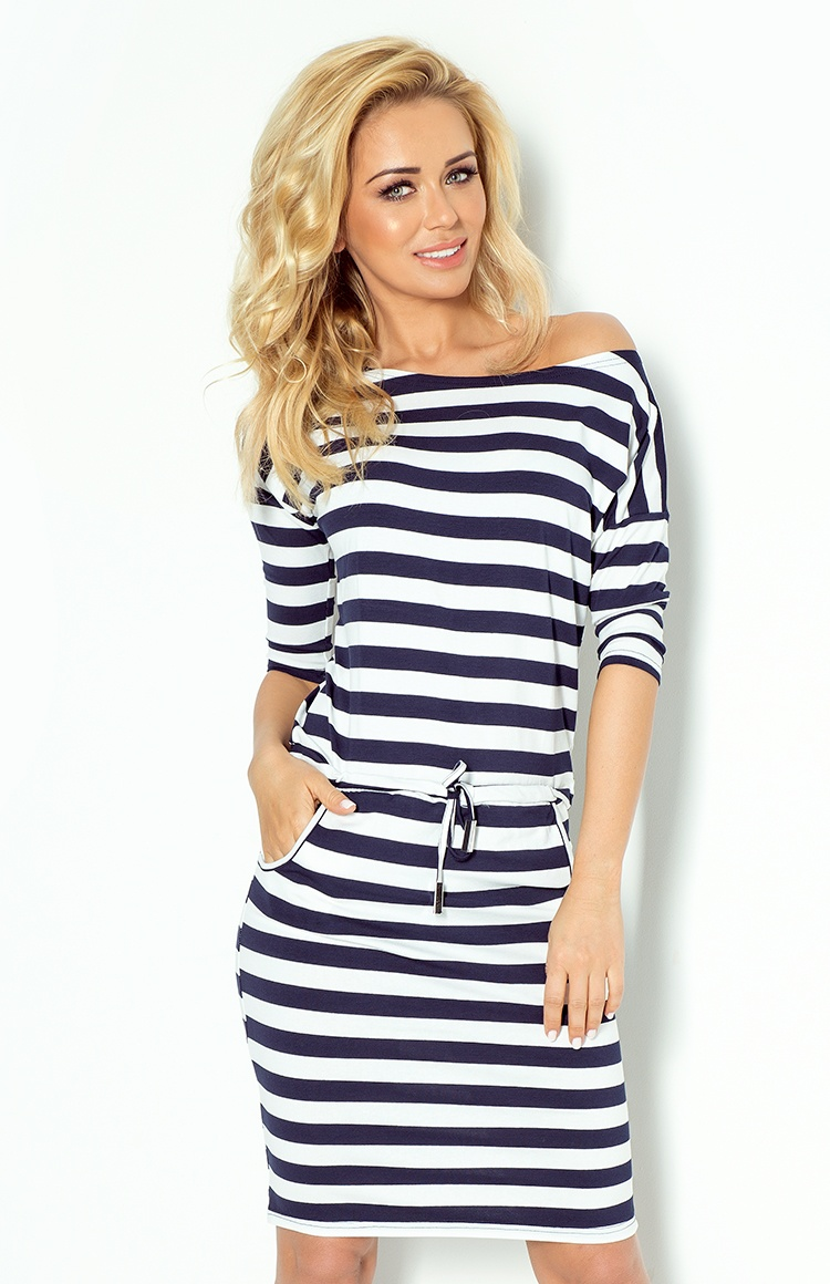 Dámske šaty 13-46 - NUMOCO bílá a modrá XL