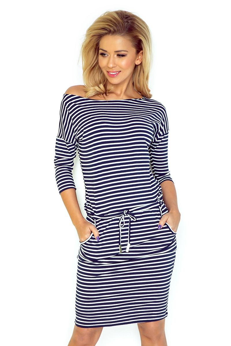 Dámske šaty 13-51 - NUMOCO bílá a modrá XL