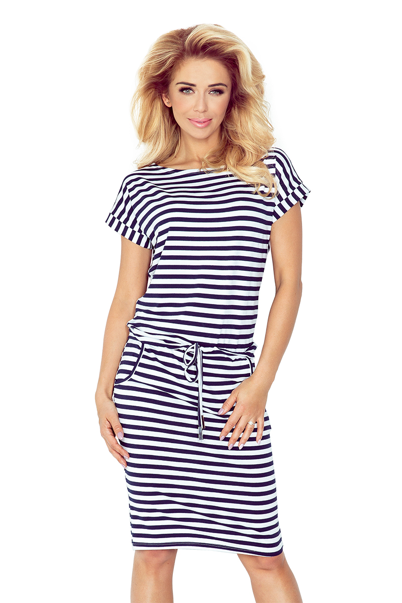 Dámske šaty 139-2 - NUMOCO bílá a modrá XL