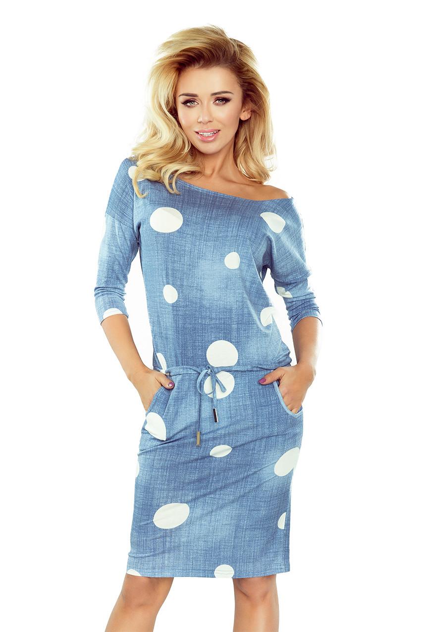 Dámske šaty 13-74 - NUMOCO svetlo modrá džínsovina XL