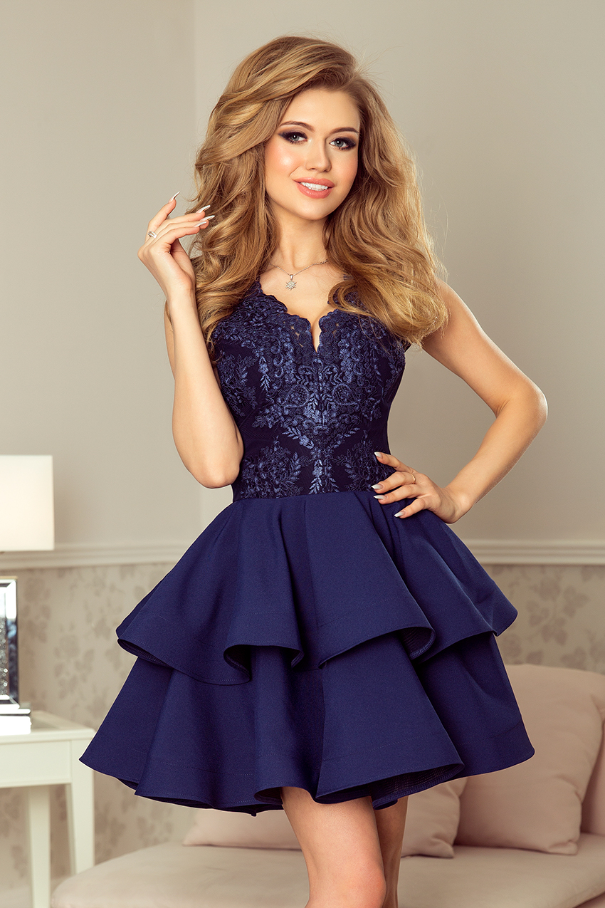 Dámske šaty 200-2 - NUMOCO tmavo modrá L