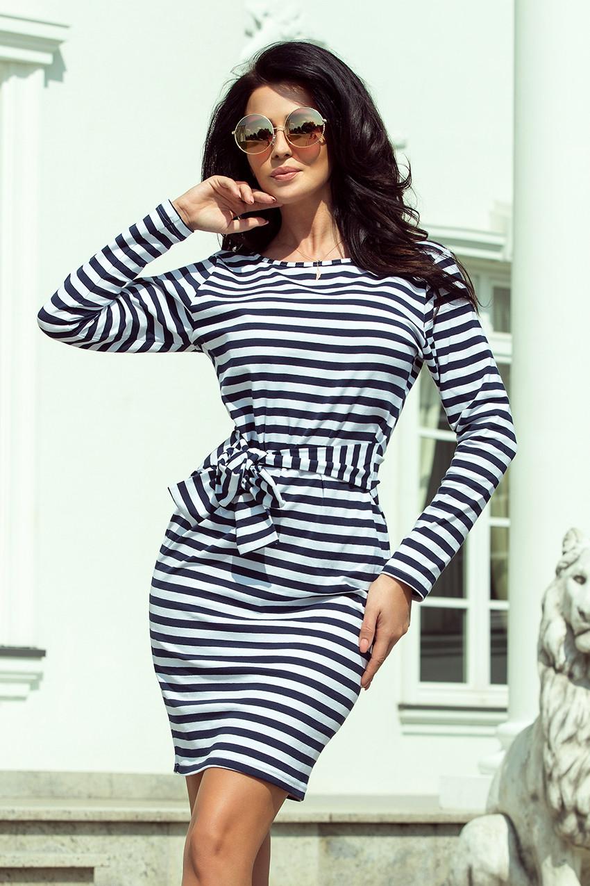 Dámske šaty 209-1 - NUMOCO biela a modrá S