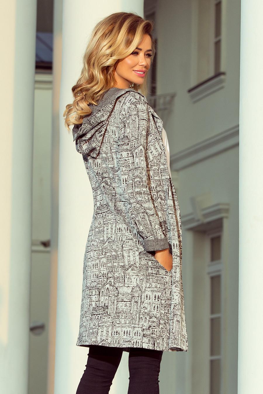 Dámsky kabát 218-1 - NUMOCO šedá a čierna S