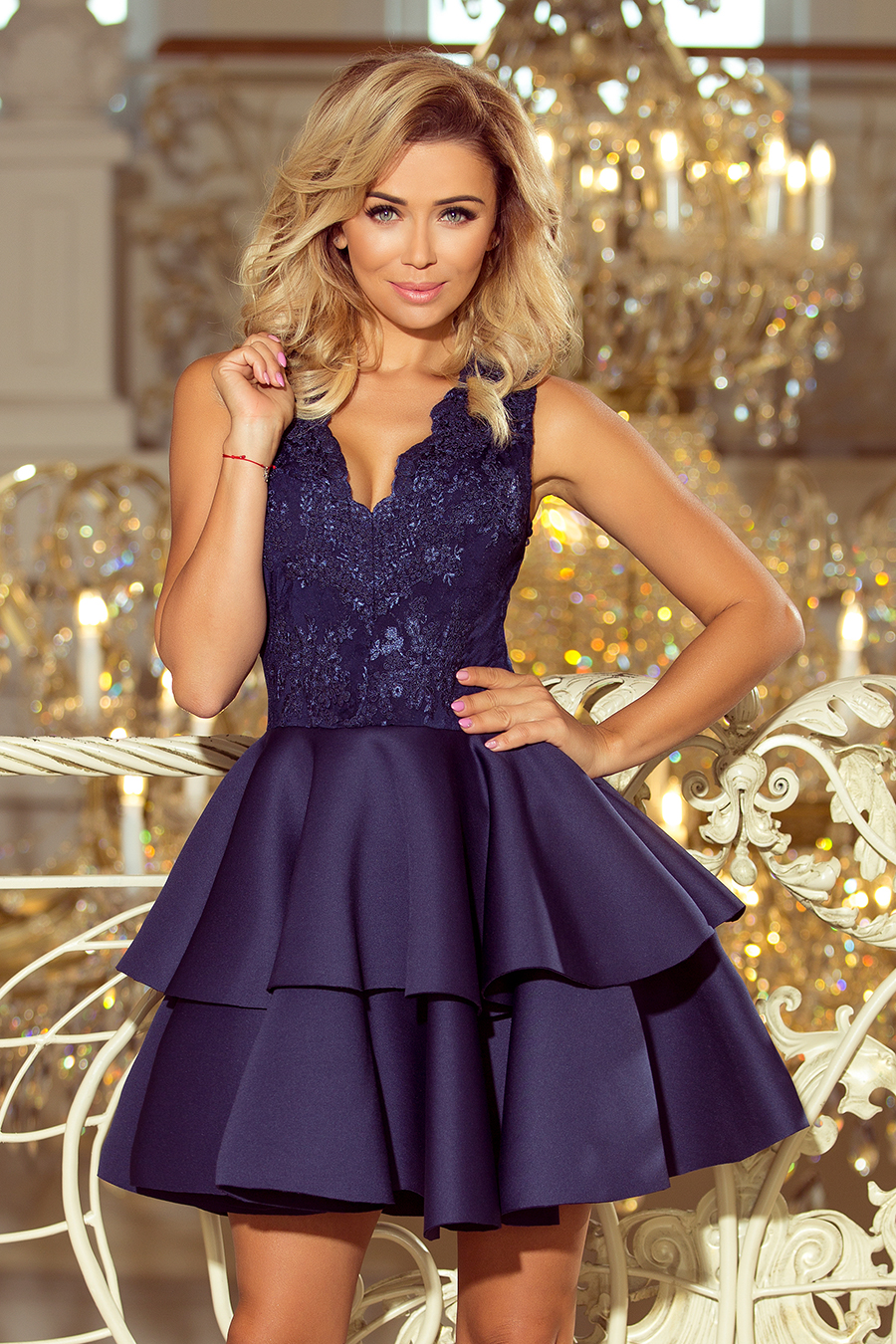 Dámske šaty 207-2 - NUMOCO tmavo modrá L