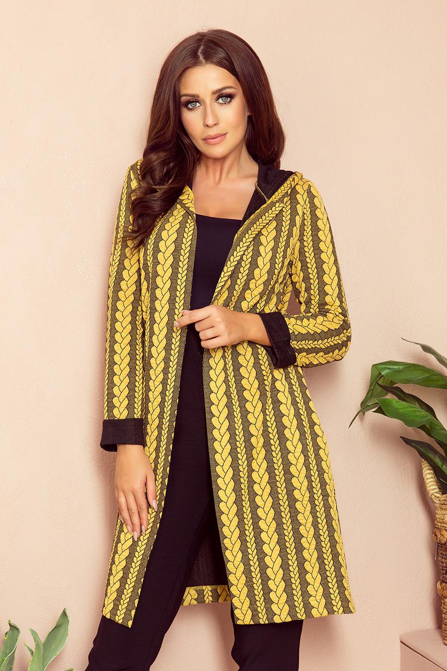 Dámský kabát 218-2 - NUMOCO černá a žlutá XL