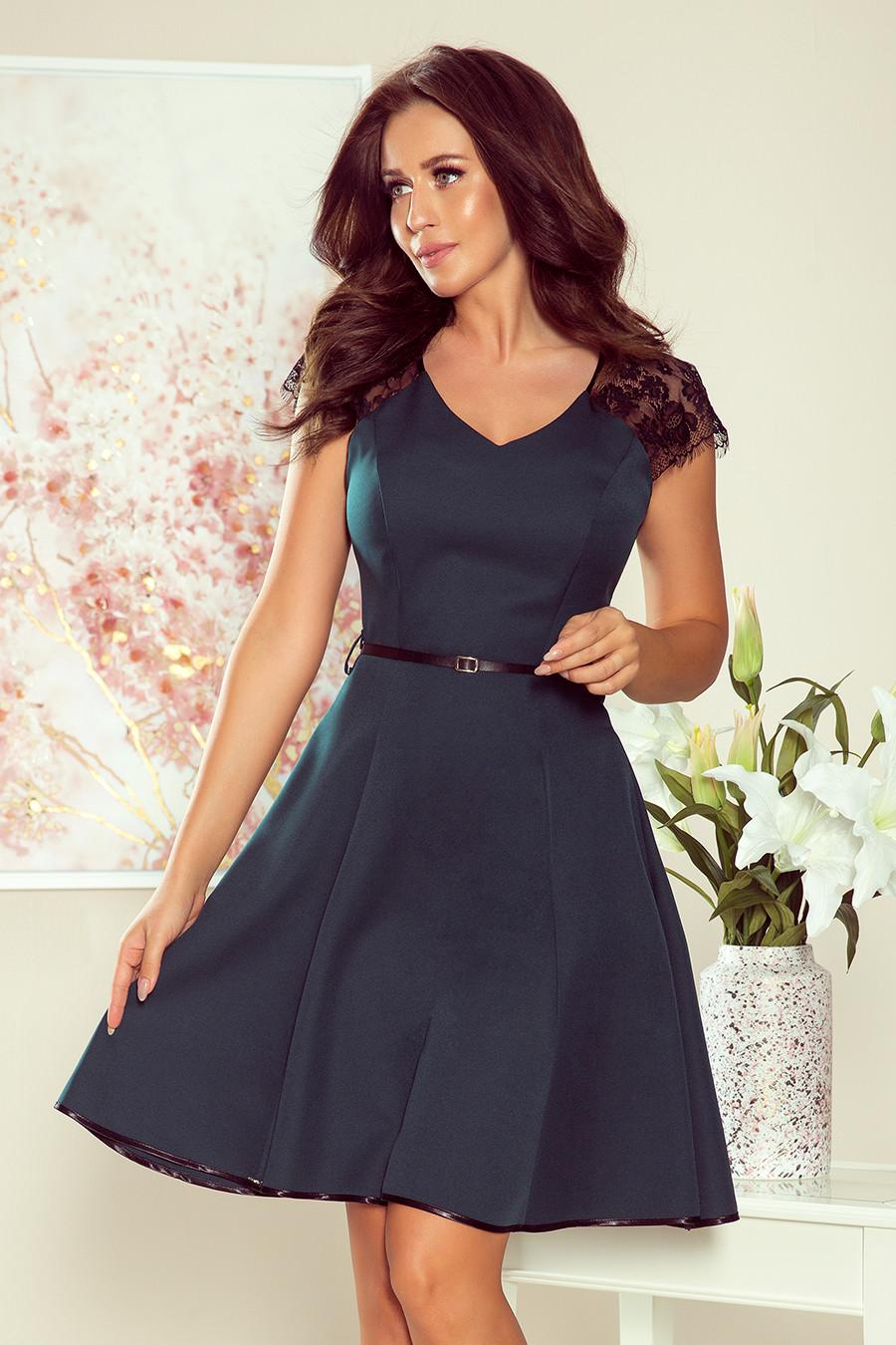 Dámske šaty 254-1 - NUMOCO mentolová-čierna XL