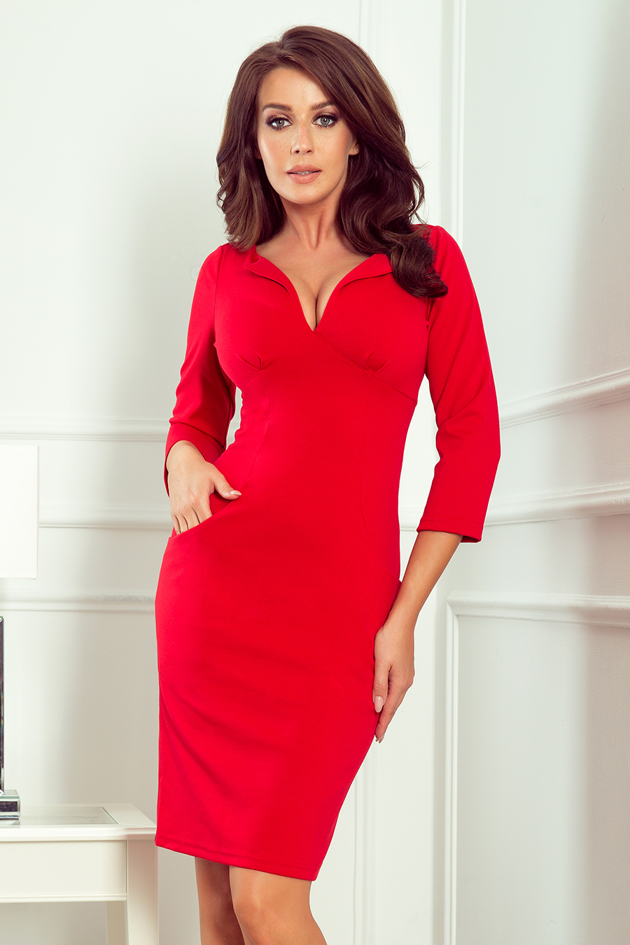 Dámske šaty 269-1 - NUMOCO červená L