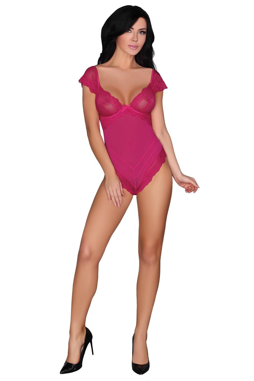 Erotické telo Cheriee - COFASHION tmavě růžová S / M