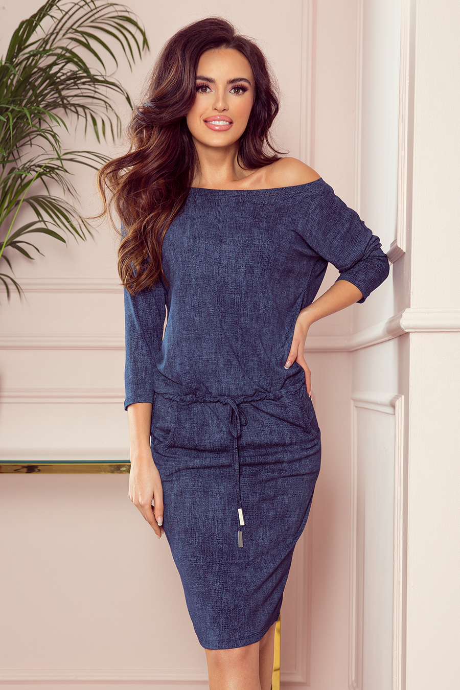Dámske šaty 13-77 - NUMOCO tmavo modrá džínsovina XXL