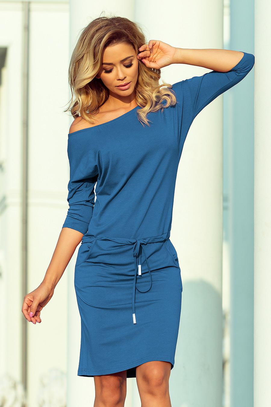 Dámske šaty 13-133 - NUMOCO svetlo modrá džínsovina XXL