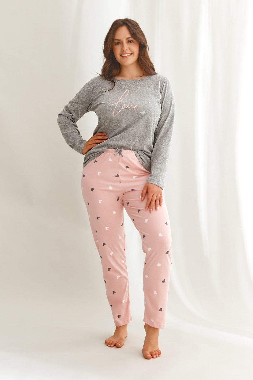 Dámske pyžamo 2608 Cora grey plus - TARO šedá 4XL