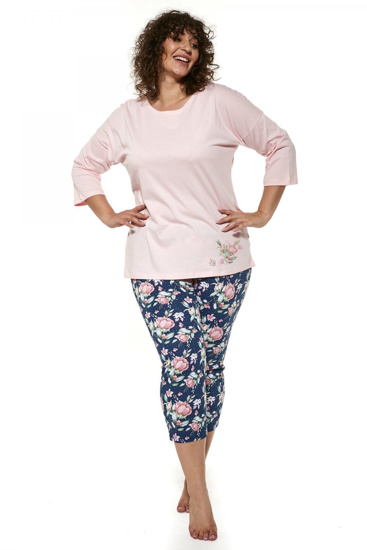 Dámske pyžamo 463/288 Flower plus - Cornet ružová 3XL