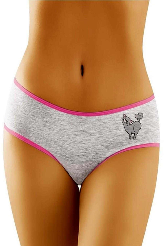 Dámské kalhotky Funny 2504 - kočka šedá S