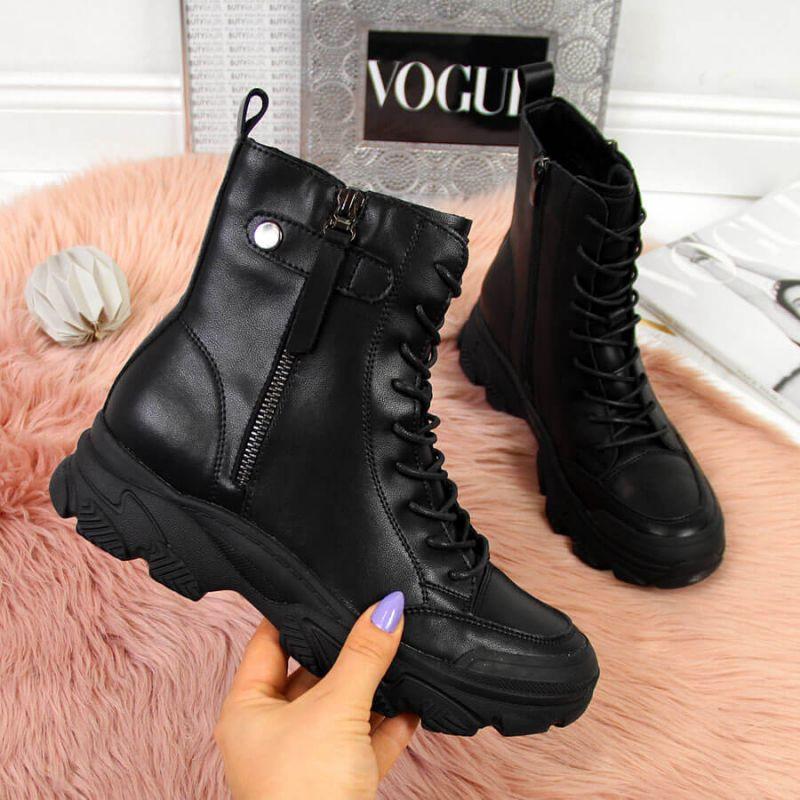 Kožené topánky na platforme Goe W II2N4031 čierne 36