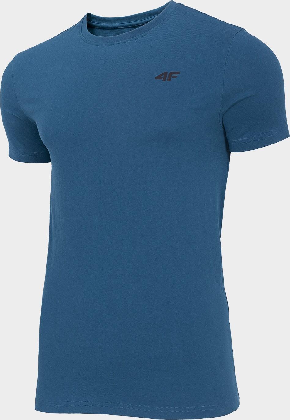 Pánske bavlnené tričko 4F TSM300 Modré Denim modrá XXL