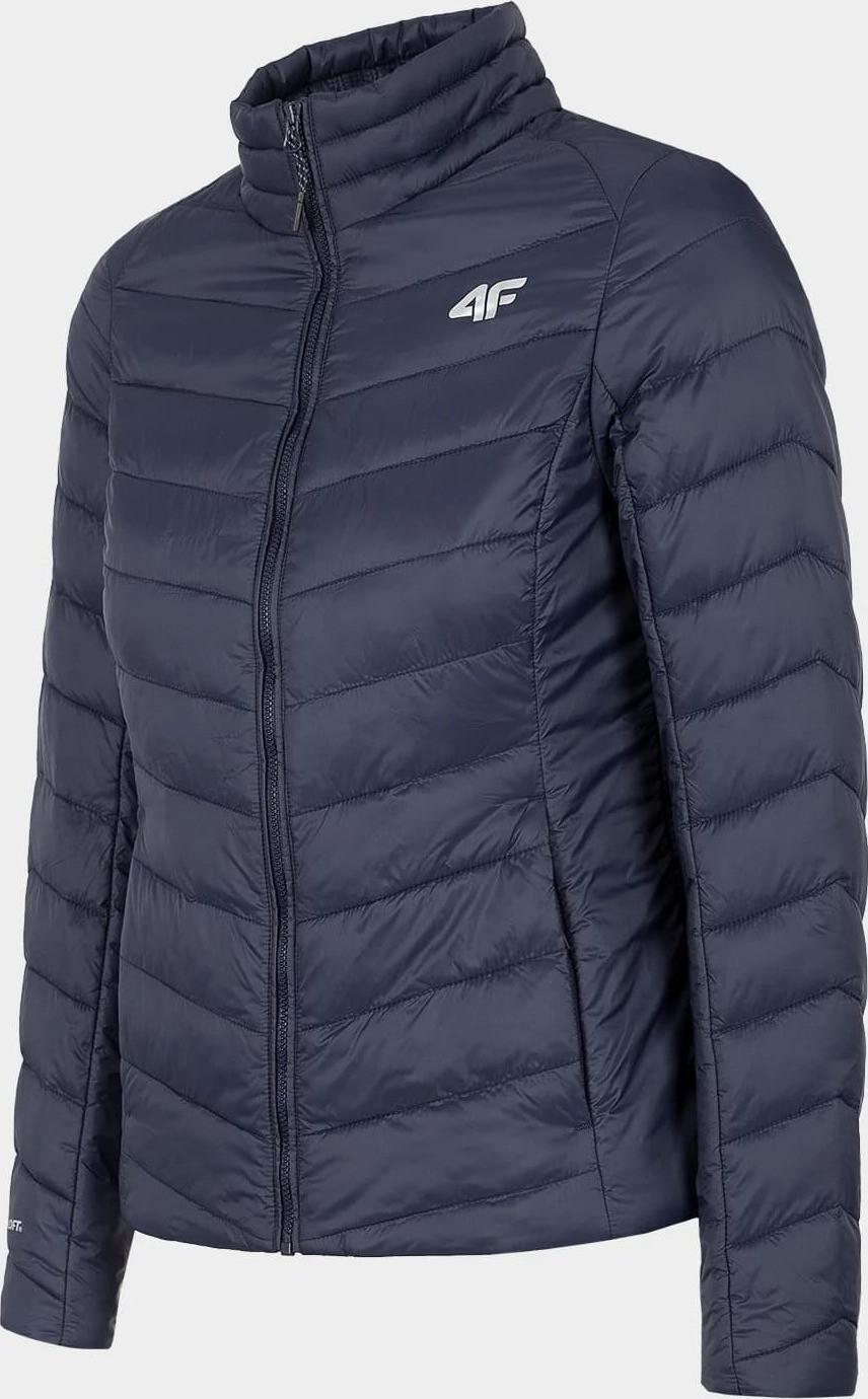 Dámska páperová bunda 4F KUDP060 Tmavo modrá tmavě modrá plná XS
