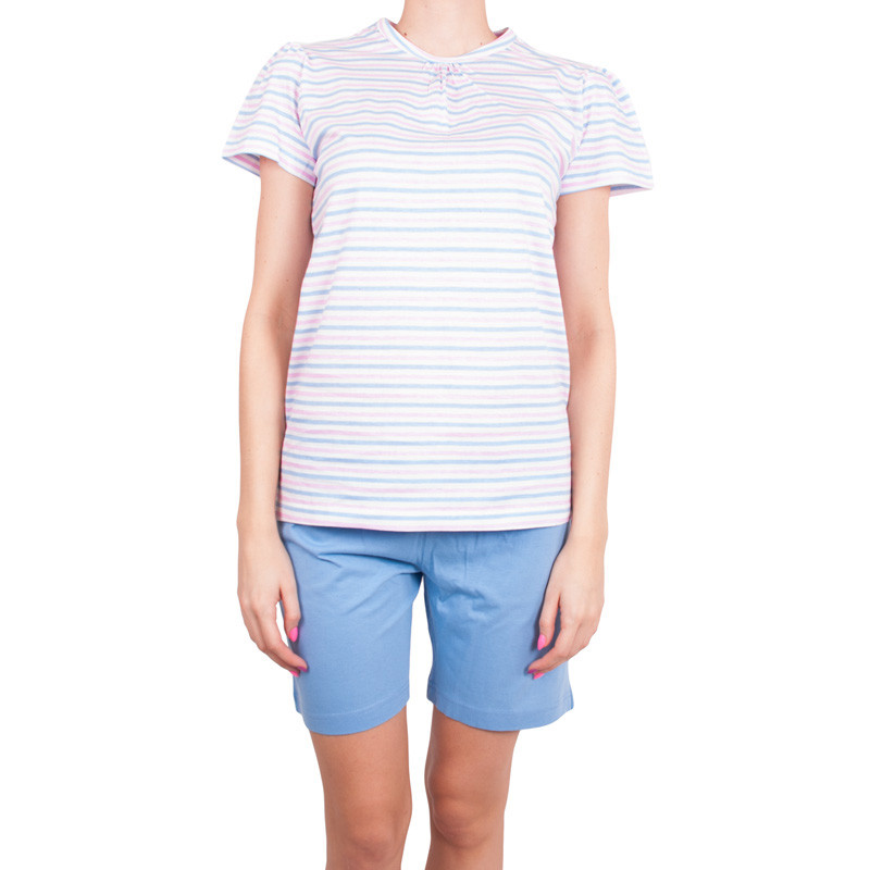 Dámske krátke pyžamo Molve modro ružové prúžky M
