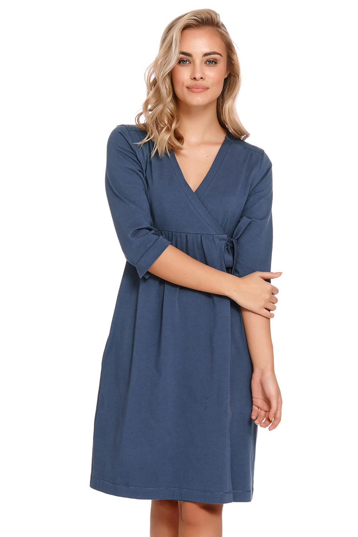 Těhotenský/kojící župan Dn-nightwear SBL.4243 tmavě modrá s