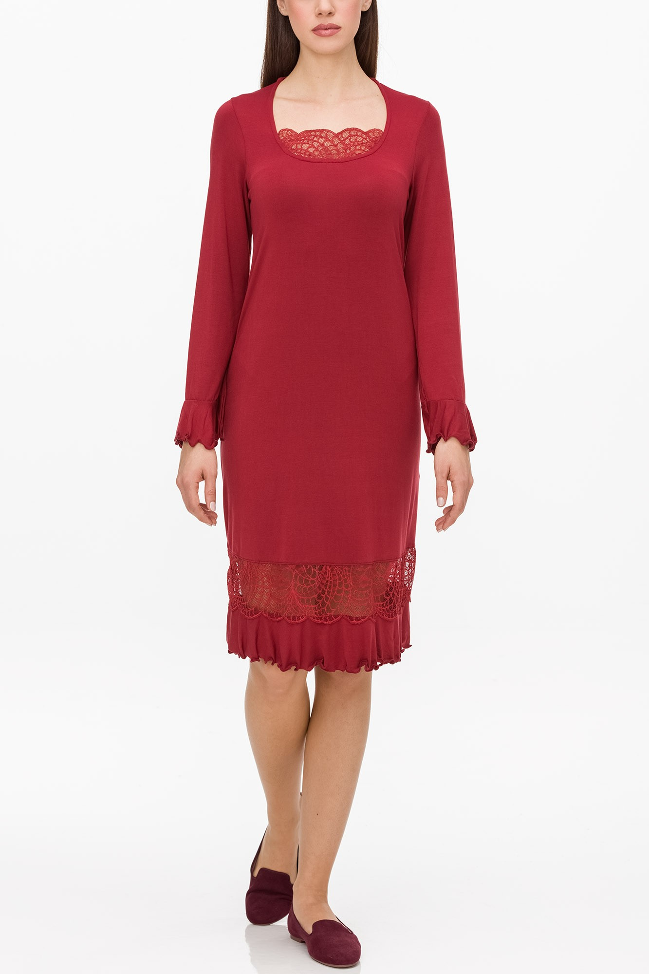 Vamp - Dámská noční košile s krajkou 11176 - Vamp red rhubarb xxl